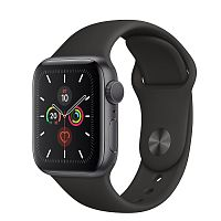 Apple Watch Series 5 44mm Case Space Grey Aluminium Sport Band Black купить в Барнауле